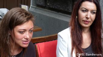Morgan Romano (l) and Zehra Pala (r) of the Turkish atheist association, Ateizm Dernegi, speak to Deutsche Welle in Cologne
