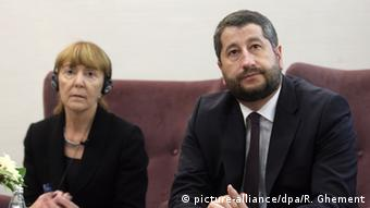 Rumänien Bulgarien Monica Macovei Abgeordnete Europaparlament mit Hristo Ivanov