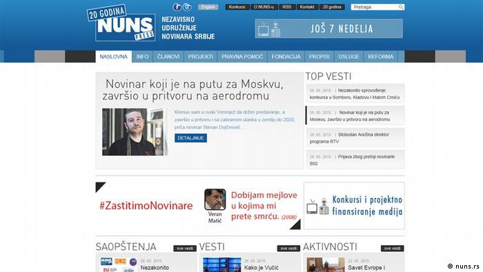 Screenshot der Website nuns.rs