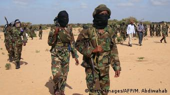 Archive Picture: Al-Shebab fighters gather on February 13, 2012 in Elasha Biyaha, in the Afgoei Corridor, after a demonstration to support the merger of Al-shebab and the Al-Qaeda network.