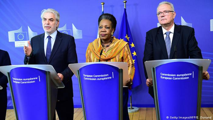 Central African Republic Interim President Catherine Samba-Panza (C), EU Commissioner for International Cooperation and Development Neven Mimica (R) and EU Commissioner for Humanitarian Aid and Crisis Management Christos Stylianides