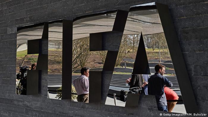 Schweiz FIFA Schriftzug Hauptquartier in Zürich
