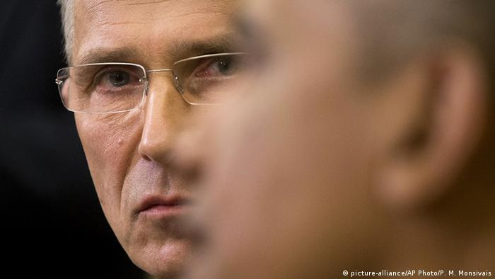 NATO Secretary General Jens Stoltenberg listens to President Barack Obama's remarks