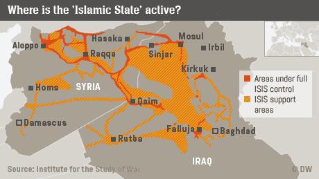 Infografik Einflussgebiete des IS in Syrien und dem Irak