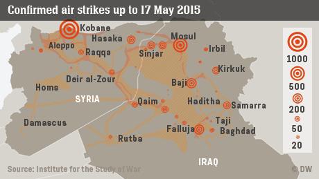 Infografik Luftangriffe auf IS-Gebiete in Syrien und dem Irak