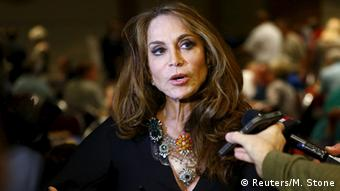 Pamela Geller answers questions from reporters