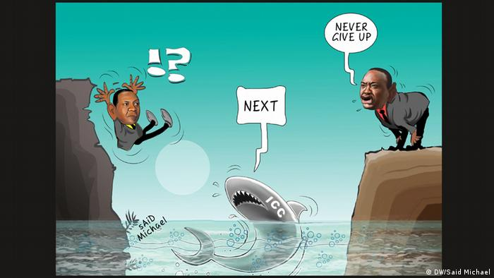 A caricature shows President Kenyatta safely stepping across shark-infested waters and encouraging his vice-president to do the same. The shark bears the letters ICC for International Criminal Court.
