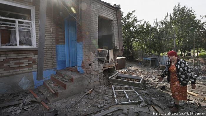 Ein zerstörtes Haus im Osten der Ukraine, Foto EPA