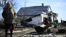 Ukraine zerstörte Häuser Krieg