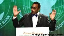 The new president of the African Development Bank (AfDB) Akinwumi Adesina delivers a speech on May 28, 2015 in Abidjan following his election at the AfDB annual meetings. AFP PHOTO/ SIA KAMBOU (Photo credit should read SIA KAMBOU/AFP/Getty Images)