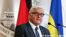 German Foreign Minister Frank-Walter Steinmeier speaks to the media during a news conference with Ukraine's Prime Minister Arseny Yatseniuk (not pictured) following their meeting in Kiev, Ukraine, May 29, 2015. REUTERS/Valentyn Ogirenko