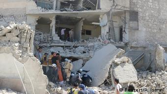 Ruins after bombs in Aleppo, Syria