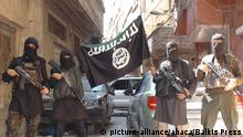 7.4.2015 A photo posted on internet on April 7, 2015 shows ISIS or Daesh (Daech) or Islamic State group militants posing in Yarmouk (Yarmuk) Palestinian camp, located in a suburb of Damascus, Syria, that is partially now under their control. Photo by Balkis Press/ABACAPRESS.COM