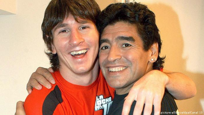 Diego Armando Maradona und Lionel Messi