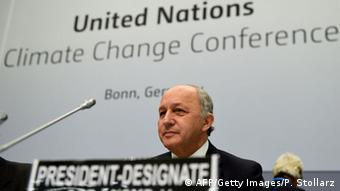 Laurent Fabius at the climate conference in Bonn (Photo: PATRIK STOLLARZ/AFP/Getty Images)