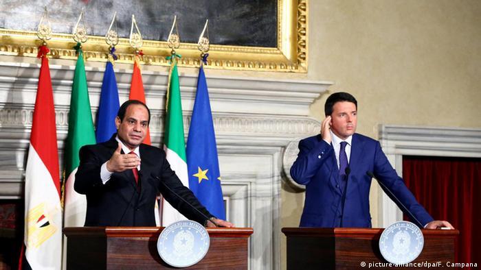 Ägypten Italien Präsident Abdel Fattah und Matteo Renzi