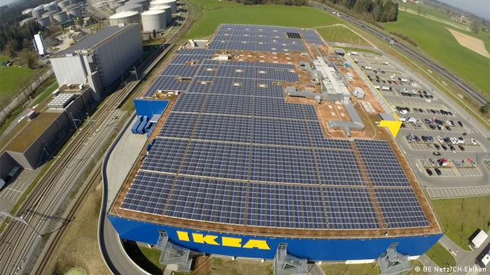 A solar-powered IKEA store in Rothenburg, Switzerland