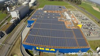 Solar PV Panels on the Roof of an Ikea store in Rothenburg, Germany