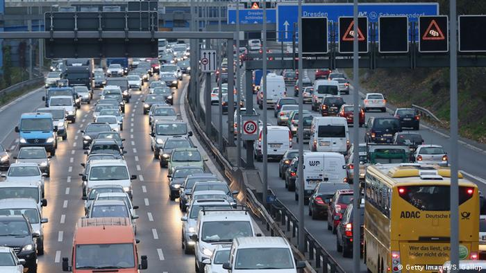 Cars and traffic fill the A100 ring highway in Berlin (Picture: Sean Gallup/Getty Images)