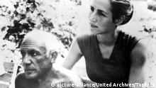 Picasso and his model-friend, Francoise Gilot. 17th August 1965. / Mono Print