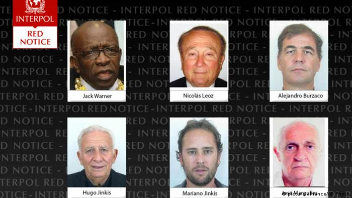 Six FIFA suspects wanted by Interpol