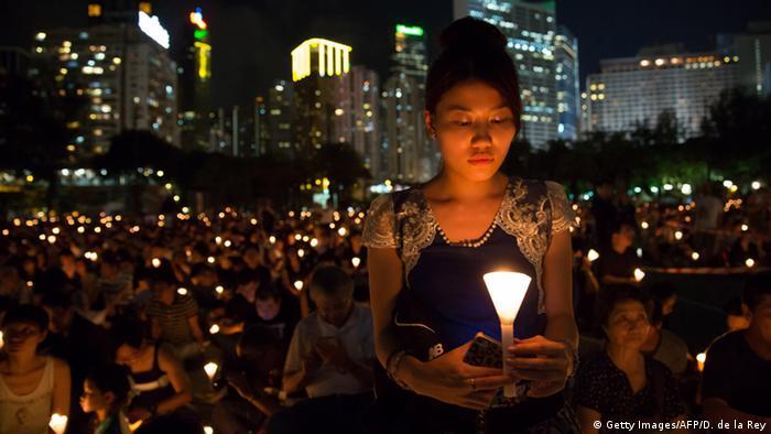 Hongkong Mahnwache im Victoria Park (Getty Images/AFP/D. de la Rey)