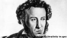 :circa 1835: Russian poet and novelist Aleksandr Sergeyevich Pushkin (1799 - 1837), whose most famous works include 'Boris Godunov' and the epic poem 'Eugene Onegin'. A painting by Tropinin. (Photo by Hulton Archive/Getty Images)