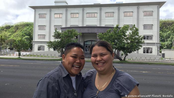 Loretta M. Pangelinan, left, and Kathleen M. Aguero, the two women who sued after being denied a marriage licenxe. AP Photo/Grace Garces Bordallo