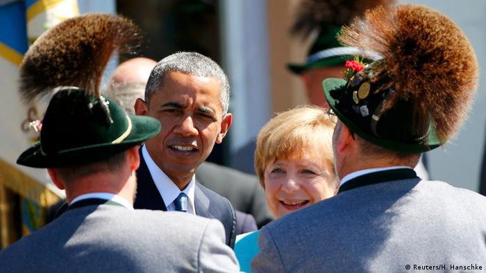 Krün G7 Gipfel Elmau Merkel und Obama Begrüßung