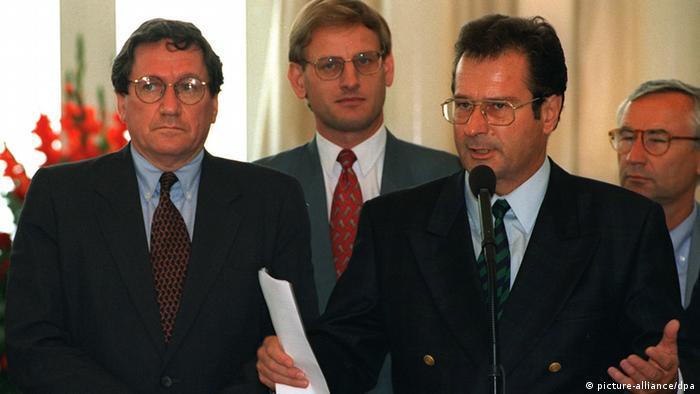 Deutschland Bosnien und Herzegowina Kinkel mit Holbrooke und Bildt