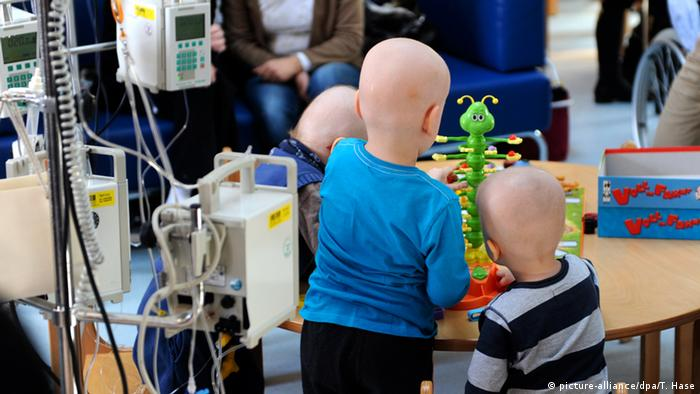 Children suffering with cancer in a hospital