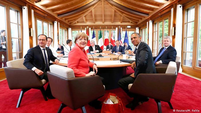 G7 Runder Tisch Angela Merkel Barack Obama Francois Hollande