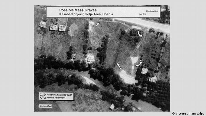 Aerial photos taken by US forces of then-suspected mass graves at Srebrenica