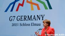 08.06.2015*****German Chancellor Angela Merkel holds a news conference during the G7 summit at Elmau Castle hotel in Kruen near Garmisch-Partenkirchen, southern Germany, June 8, 2015. Merkel urged Group of Seven (G7) leaders to commit to tough goals to cut greenhouse gases on the final day of their summit in Bavaria on Monday, at which they also discussed the threat from Islamic militants. REUTERS/Michaela Rehle