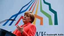 08.06.2015***** German Chancellor Angela Merkel holds a news conference during the G7 summit at Elmau Castle hotel in Kruen near Garmisch-Partenkirchen, southern Germany, June 8, 2015. Merkel urged Group of Seven (G7) leaders to commit to tough goals to cut greenhouse gases on the final day of their summit in Bavaria on Monday, at which they also discussed the threat from Islamic militants. REUTERS/Michaela Rehle