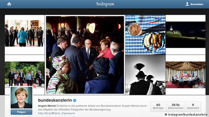 Screenshot Angela Merkel Instagram