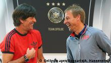09.06.2015 **** Bildunterschrift:COLOGNE, GERMANY - JUNE 09: Joachim Loew (L), head coach of German national team attends with Juergen Klinsmann, head coach of the US national team a press conference at Mercedes Benz showroom Cologne ahead of their international friendly match, on June 9, 2015 in Cologne, Germany. (Photo by Alexander Hassenstein/Bongarts/Getty Images)