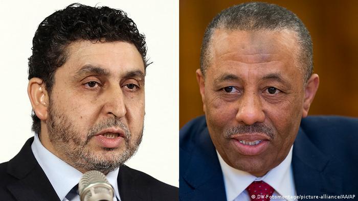 Libyen Bildkombo Ministerpräsidenten Chalif Al-Ghwell / Abdullah al-Thinni (DW-Fotomontage/picture-alliance/AA/AP)