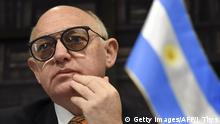 10.06.2015 **** Bildunterschrift:Hector Marcos Timerman, Argentina's Foreign Minister, speaks at a press conference in Brussels on June 10, 2015. AFP PHOTO/JOHN THYS (Photo credit should read JOHN THYS/AFP/Getty Images)