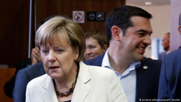 Germany's Chancellor Angela Merkel (L) and Greek Prime Minister Alexis Tsipras (R) during the European Union and of the Community of Latin American and Caribbean States (CELAC) summit in Brussels, Belgium, 10 June 2015.