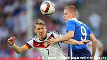 COLOGNE, GERMANY - JUNE 10: Bastian Schweinsteiger (L) of Germany battles for the ball with Aron Johannsson of USA during the international friendly match between Germany and USA at RheinEnergieStadion on June 10, 2015 in Cologne, Germany. (Photo by Alexander Hassenstein/Bongarts/Getty Images)