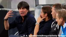 COLOGNE, GERMANY - JUNE 10: Joachim Loew, head coach of Germany reacts during the international friendly match between Germany and USA at RheinEnergieStadion on June 10, 2015 in Cologne, Germany. (Photo by Alexander Hassenstein/Bongarts/Getty Images)