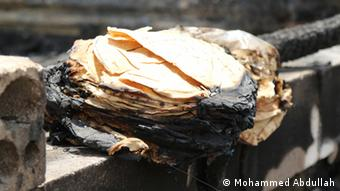 Flatbread burnt by the fire