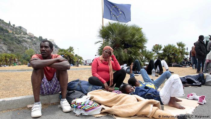 Italien italienisch-französische Grenze Flüchtlinge