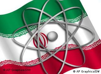 graphic of Iranian flag and atom symbol