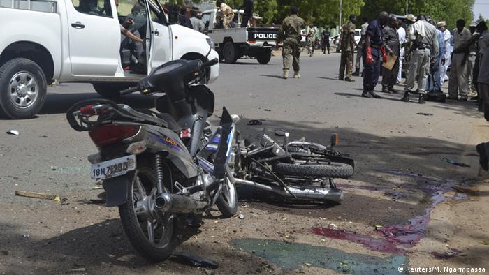Security forces seal off the scene of a suicide attack in Chad's capital N'djamena