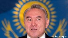 Incumbent Kazakh President Nursultan Nazarbayev, who scored a massive majority in presidential polls held Sunday, in front of the national flag as he addresses a news conference in Astana, 05 December 2005. Preliminary election results Monday gave 65-year-old Nazarbayev a tally of 91 per cent in elections held the previous day, easily returning him to office for another seven-year tenure. EPA/SERGEI CHIRIKOV +++(c) dpa - Report+++