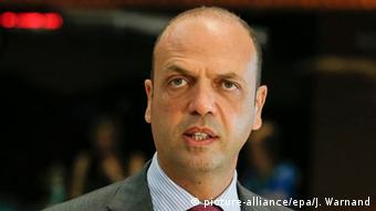 Italian Interior Minister Angelino Alfano at the start of an EU Justice and Home Affairs Council in Luxembourg, 16 June 2015.