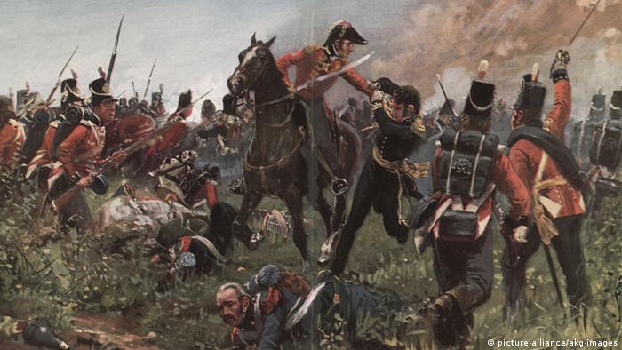 Cena da batalha de Waterloo retratada pelo artista R. Knoetel