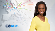 Female news presenter with long black hair and yellow blouse smiling next to DW News logo